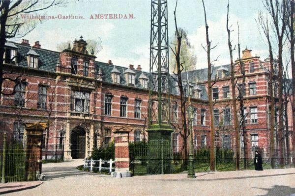 Wilhelmina Gasthuis op een oude ansichtkaart